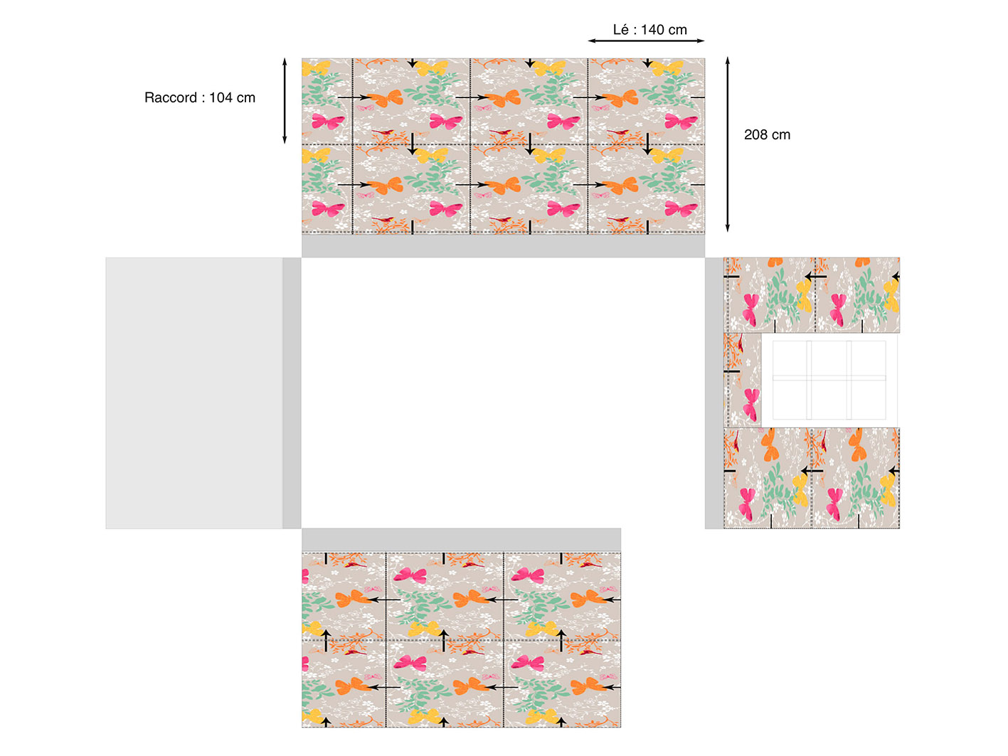 Calcul de mètrage tissus mural en fonction du raccord